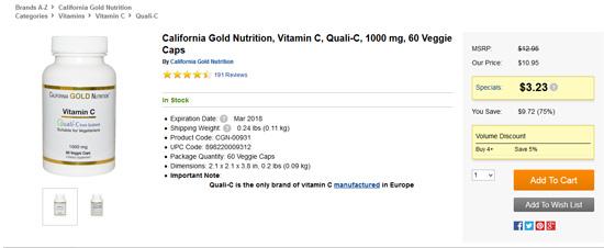 カリフォルニアゴールドニュートリション、ビタミンCセール