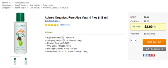 Aubrey Organicsアロエベラセール