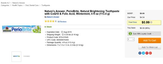 Nature's Answer歯磨き粉セール