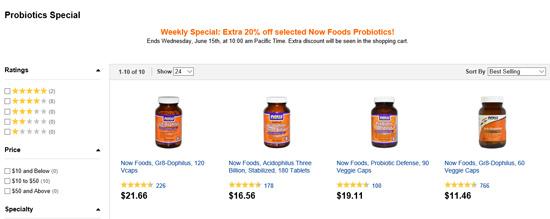 Now Foodsの乳酸菌サプリ全商品20%割引セール