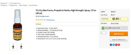 Y.S. Eco Bee Farmsプロポリスセール