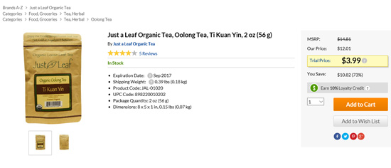 Just a Leafの鉄観音茶葉セール