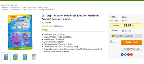 Dr.Tung'sの歯ブラシキャップセール