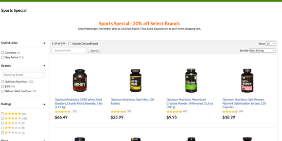 スポーツトレーニング&エクササイズ用サプリメント20%割引セール