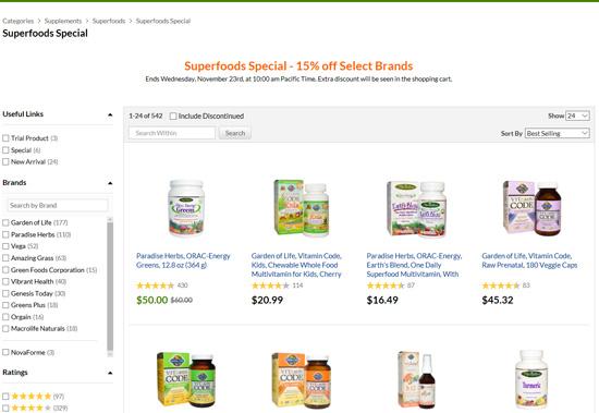 スーパーフード11ブランド全商品の15%割引セール